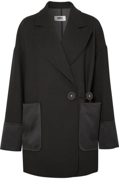 Mm6 Maison Margiela blazer leather black satin jacket