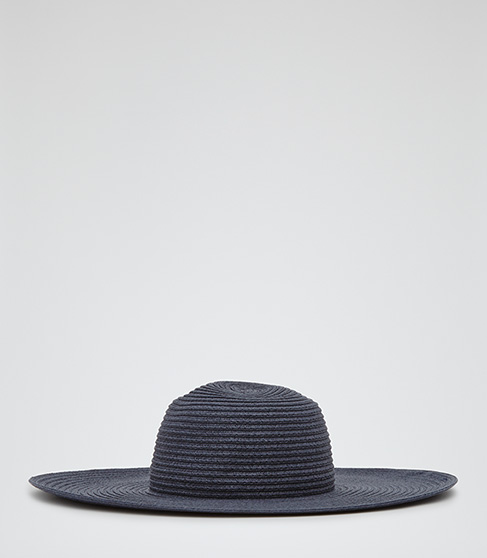 Cora Navy Wide Brim Hat - REISS