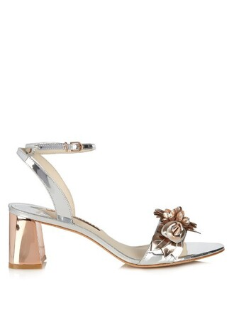 heel sandals leather silver shoes