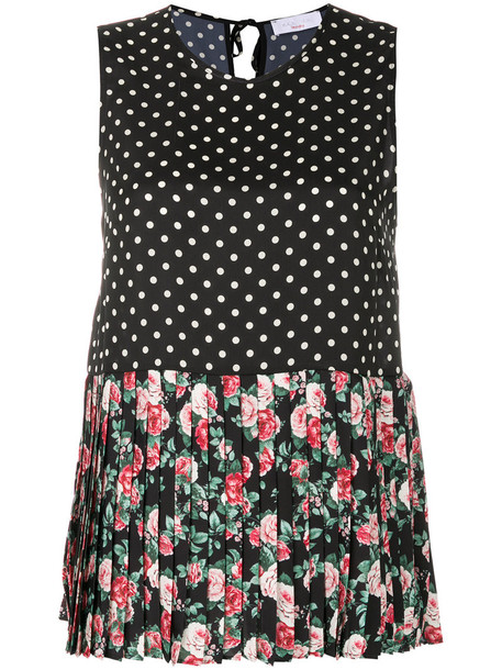 P.A.R.O.S.H. P.A.R.O.S.H. - polka dot pleated panel top - women - Polyester - S, Black, Polyester