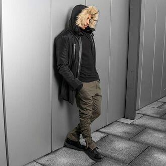 jeans maniere de voir elasticated jean scott disick khaki khaki trouser khaki jean fur hood parka