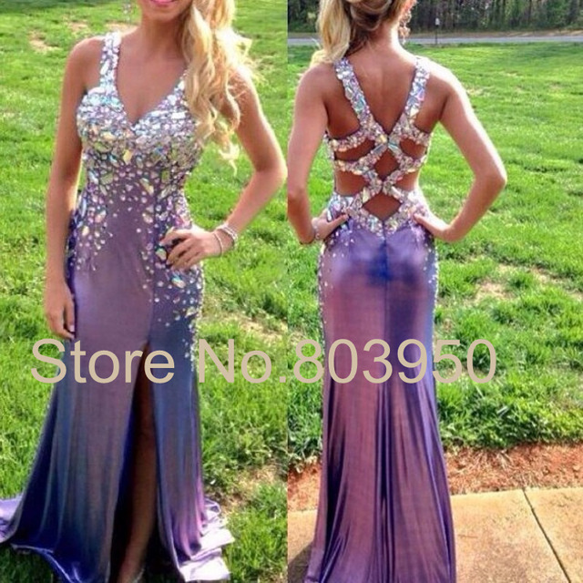 Aliexpress.com : Buy Luxury Abendkleider Crystal Beaded V neck ...