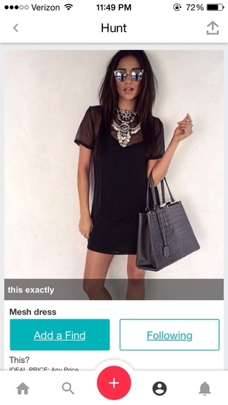 dress black dress mesh dress mesh sheer dress grunge dress tumblr tumblr outfit tshirt dress