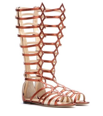 metallic sandals leather shoes
