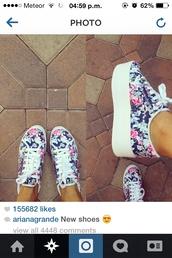 shoes,ariana grande,sports shoes,flowers,platform shoes,blue,pink,cute