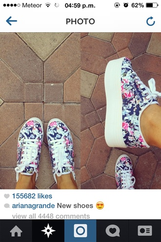shoes ariana grande sports shoes flowers platform shoes blue pink cute