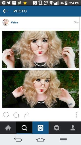 sunglasses glasses kawaii pastel pretty make-up