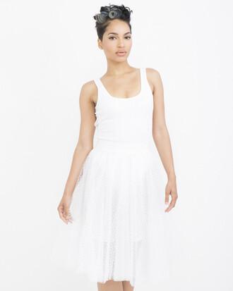 skirt white white skirt tutu tulle skirt polka dots