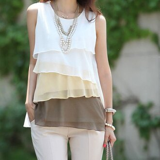 top ruffle blouse sleeveless white nude brown