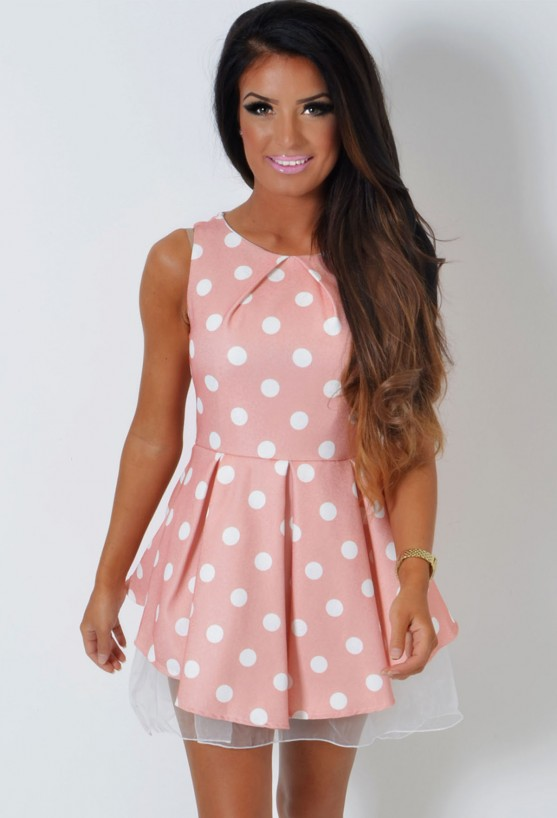Serendipity LUXE Peach Polka Dot Skater Dress | Pink Boutique