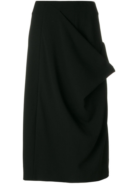 skirt women midi spandex black silk wool