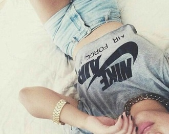 shirt nike air force 1 high top crop tops grey t-shirt