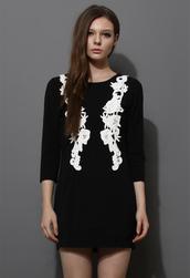 dress,black,crochet,floral,shift dress