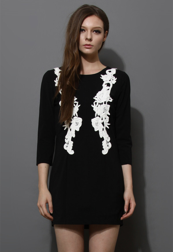 dress black crochet floral shift dress