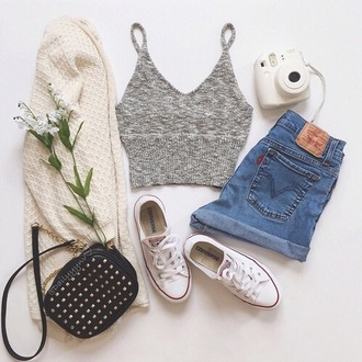 top grey t-shirt tank top cardigan shorts shoes bag