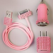 home accessory,pink,glitter,charger,car charger,technology