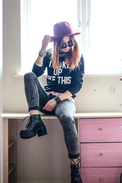 laughing in the purple rain,blogger,sunglasses,grunge,jumper,quote on it,jeans,sweater,shoes,hat