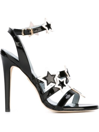 women sandals leather black stars shoes