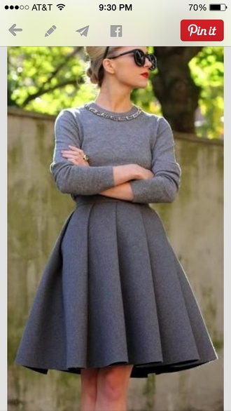 grey retro dress