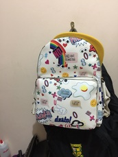 bag,pattern,white,colorful,explosive,backpack,small,branded