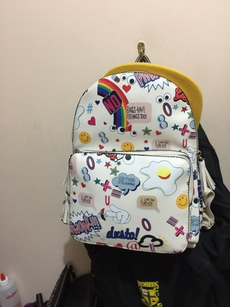 bag pattern white colorful explosive backpack small branded