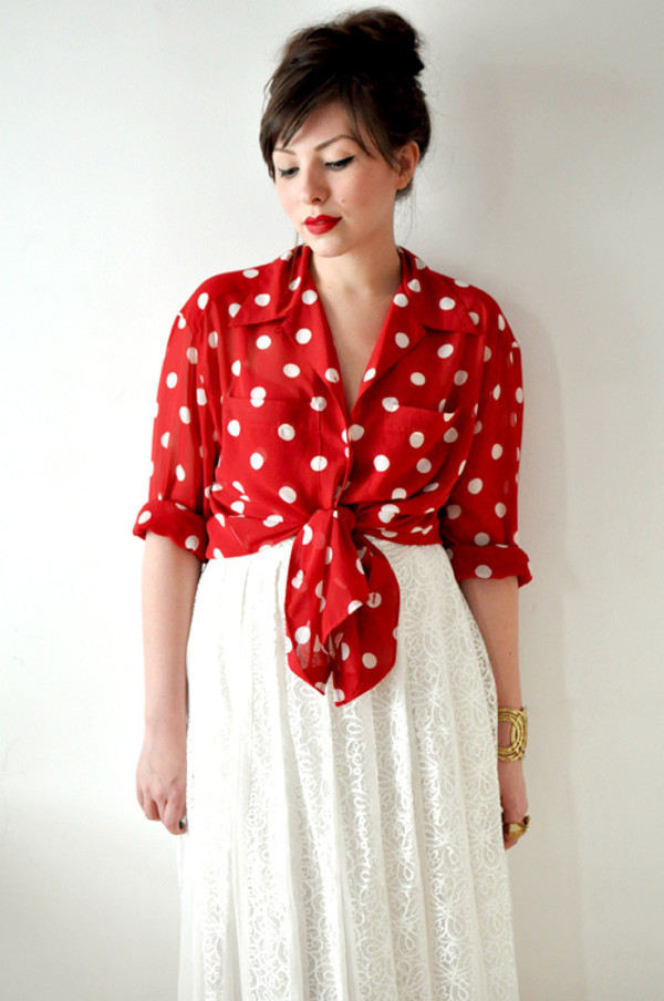 Find red polka dot blouse women at ShopStyle. Shop the latest collection of red polka dot blouse women from the most popular stores - all in one RED Valentino Polka Dot Tie Blouse $ Get a Sale Alert at Harrods $ Get a Sale Alert at nichapie.ml nichapie.ml Plumberry Women's Pleated Sleeve Polka Dots Casual Loose Blouse Tops White.