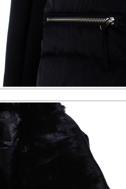 Black Padded Jacket with Fur Collar - OASAP.com