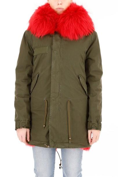 Mr & Mrs Italy parka fur midi strawberry coat