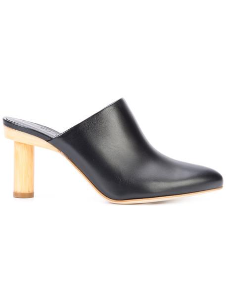Tibi women mules leather blue shoes