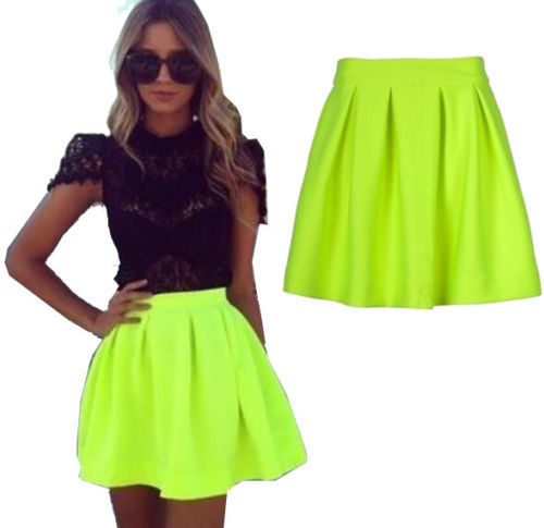 Neon Yellow Skater Skirt