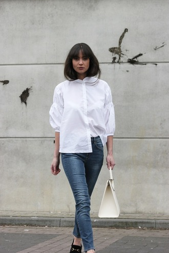 mode d'amour blogger blouse shoes bag loafers white shirt shirt handbag white bag