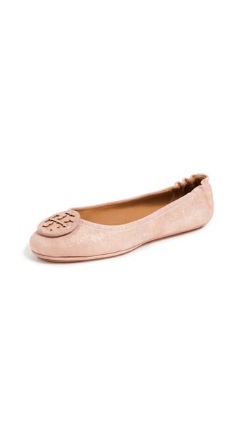 Tory Burch Minnie Travel Logo Ballet Flats in metallic / pink