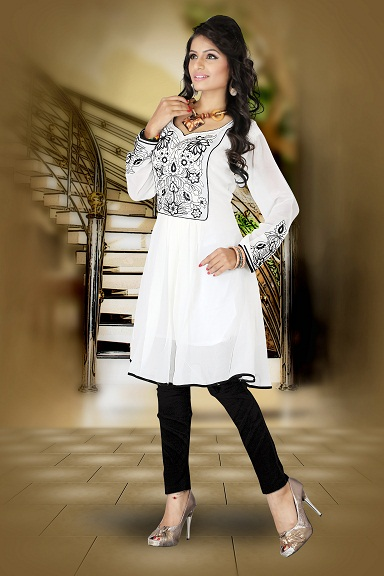 White Georgette Embroidered Fancy Kurtis