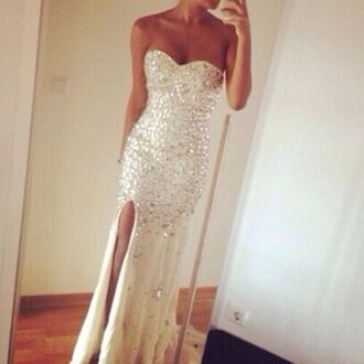dress prom dress prom white white dress glitter dress www.ebonylace.net ebonylacefashion silver/ nude diamanté formal dress silver nude diamanté formal dress formal diamanté silver dress formal dress diamante dress