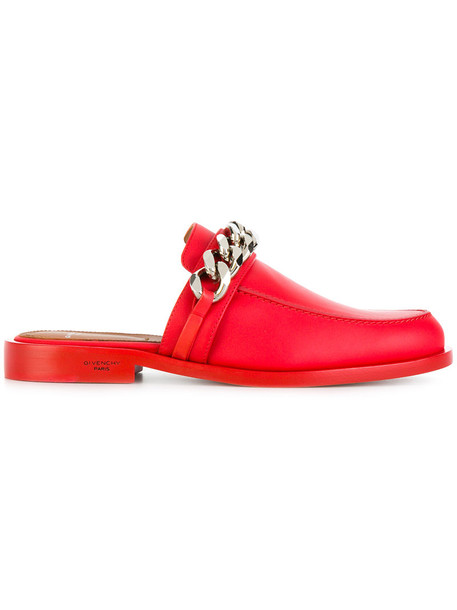women slippers leather red shoes