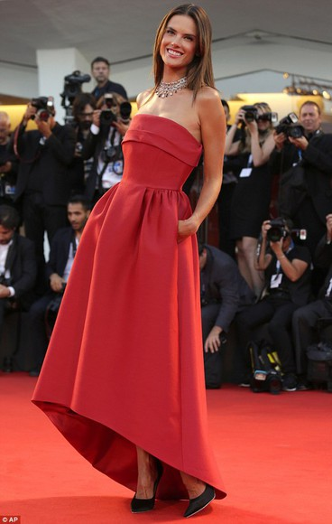 dress red dress alessandra ambrosio