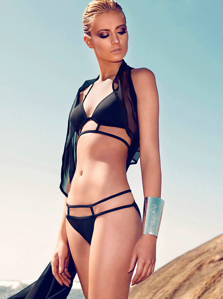 Black Triangle Top with Strappy Bottom Bikini - Sheinside.com