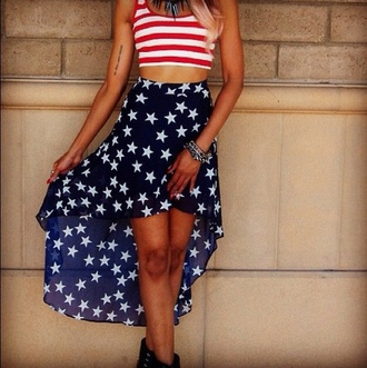 skirt american flag navy blue skirt stars
