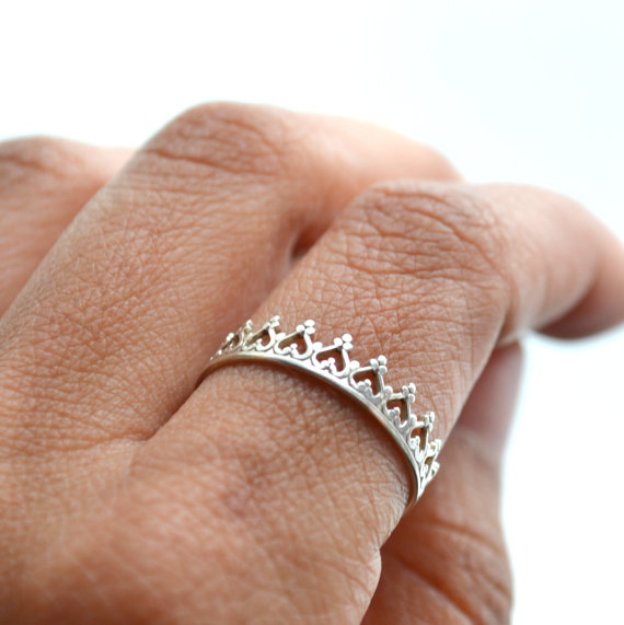 There is no queen without a crown ring. silver band. by LUNATICART