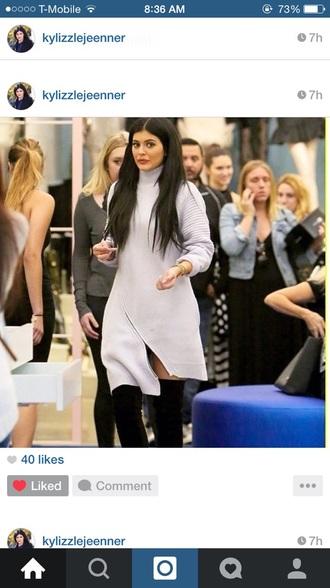 dress kardashians khloe kardashian boots high heels oversized sweater black boots sweater dress