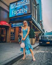 dress,blue dress,midi dress,sunglasses,shoes