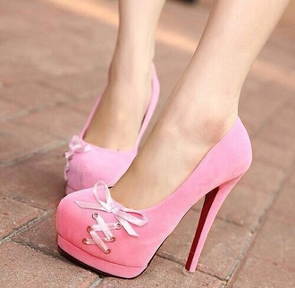 shoes pink ribbon laced heels