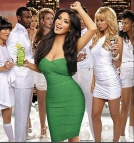 Deja Boutique. Apple green strapless bandage dress