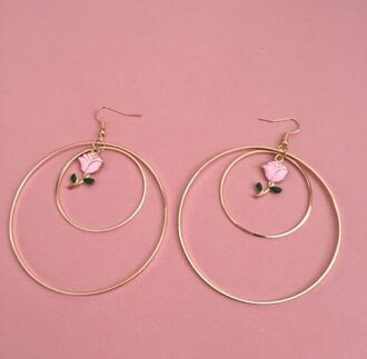jewels rose roses charms charm hoop earrings gold hoops earrings betty bones gold gold jewelry pink pretty beautiful