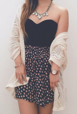 skirt foral cardigan