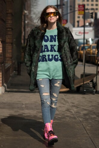 the blonde salad blogger sweater faux fur coat jeremy scott ripped jeans drmartens mirrored sunglasses