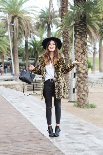 blogger bag dulceida belt fedora leopard print coat ankle boots ripped jeans