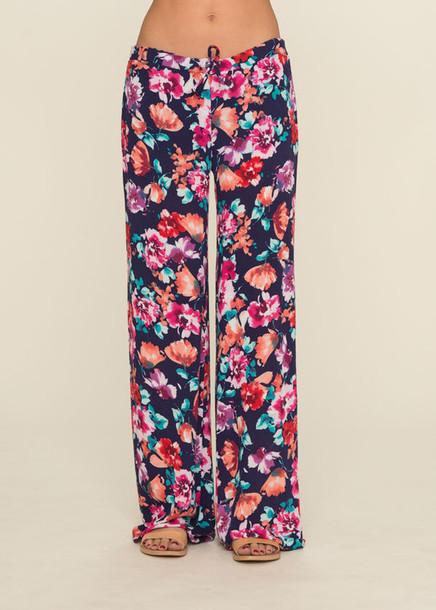 Flower Printed Pants Pants Hippie Chic Flower Power
