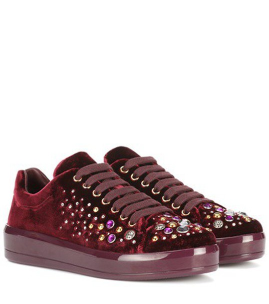 Prada embellished sneakers velvet red shoes