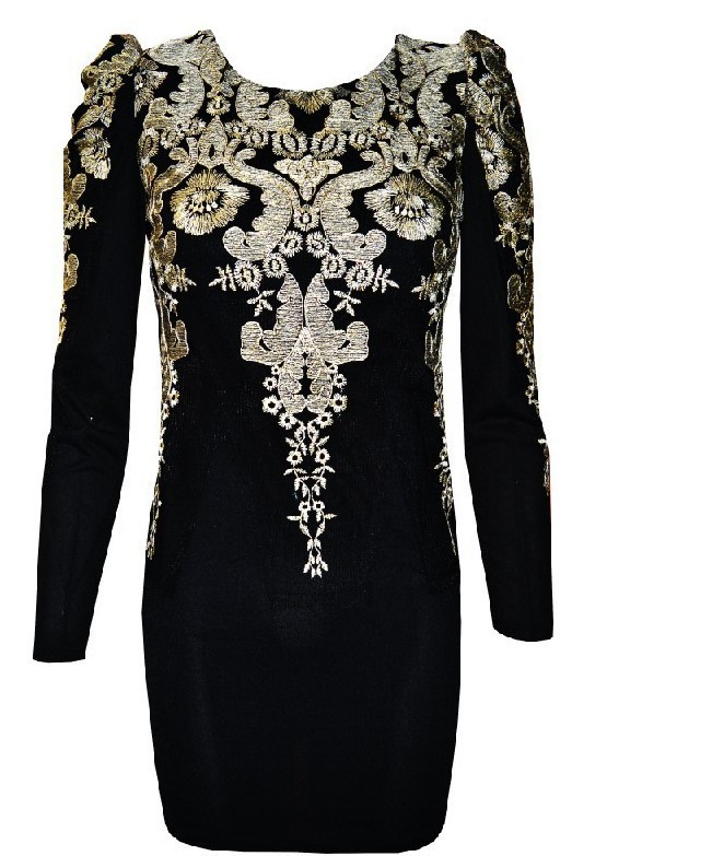 Free shipping the metal palace embroidered puff sleeve dress